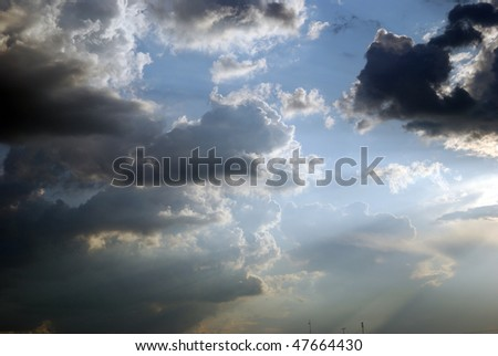 sky before a thunder-storm rainy weather landscape