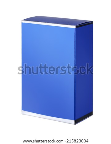 Sky blue cosmetic packaging box / studio photography of blue box for cosmetics - isolated on white background