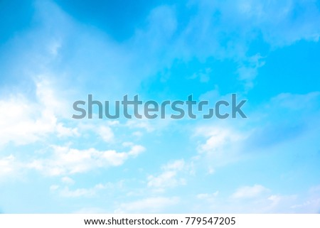 Sky blue or azure sky and cloud. It is everything lies above surface Earth atmosphere and outer space. Cloud is aerosol comprising visible mass of liquid droplets frozen crystals in air #779547205