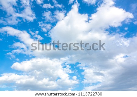 Sky blue or azure sky and cloud on bright daytime of sun. It white cloudy on atmosphere and weather