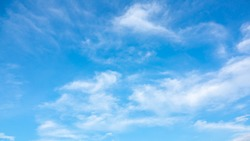 Sky blue or azure sky and clouds is bright white background. Everything lies above surface atmosphere outer space is sky. Cloud is aerosol comprising visible mass of liquid droplets frozen in air.
