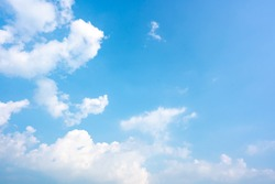 Sky blue or azure sky and clouds is bright white background. Everything lies above surface atmosphere outer space is sky. Cloud is aerosol comprising visible mass  liquid, for creative design graphic