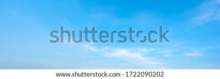 Sky blue or azure sky and clouds panorama white background. Everything lies above surface atmosphere outer space is sky. Cloud is aerosol comprising visible mass liquid, for creative design graphic