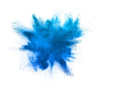 Sky Blue powder explosion isolated on white background
