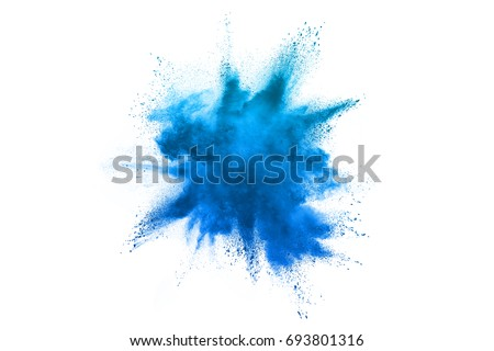 Sky Blue powder explosion isolated on white background #693801316