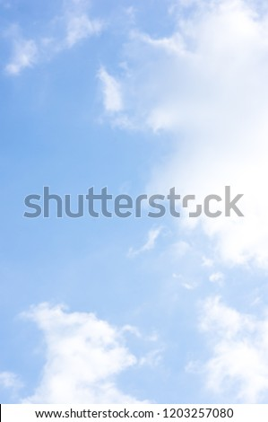 Sky. Blue sky. Cloud On a clear day. Sky Background.  Daytime.  #1203257080