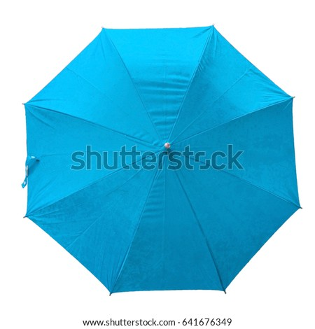 sky blue umbrella. isolated umbrella on white background. top view. image. umbrella with rain