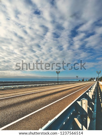 sky clouds horizon sea oce...ad highway sunset dawn.