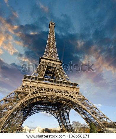 Sky Colors at Sunrise in Paris, with the Eiffel Tower