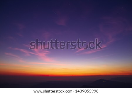 Sky, dawn light and mountain