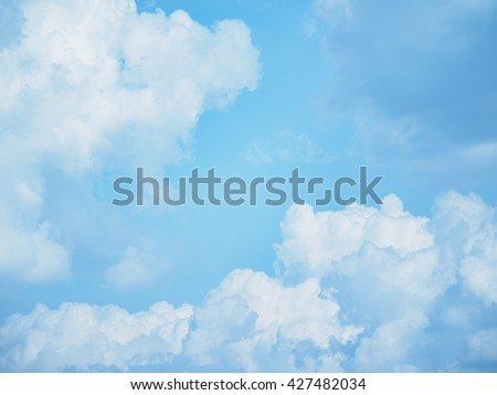 Sky, fluffy clouds.
