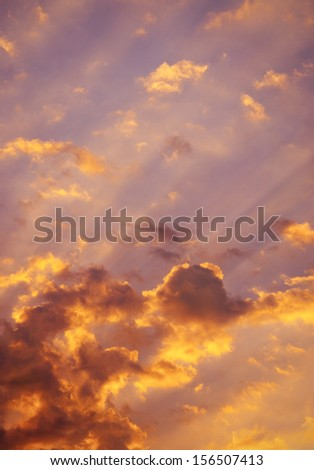 Sky full of colorful hue of sunset