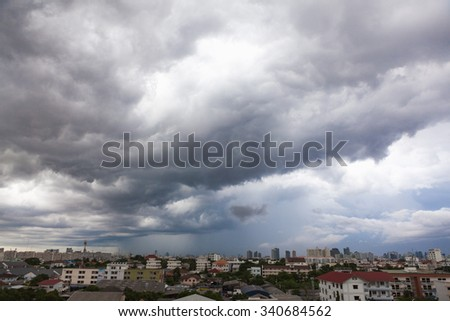 Sky Grey-cloud and heavy rain at Bangkok, Thailand. #340684562