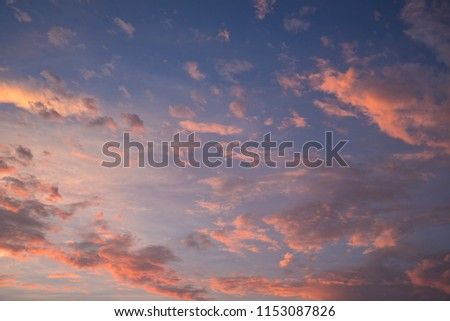 sky in afterglow(sunset, orange couds)
