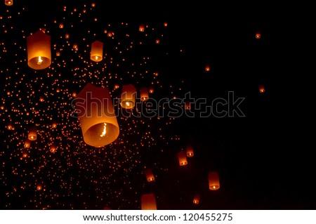 Sky lanterns festival,Thailand, Loy Krathong and Yi Peng Festival