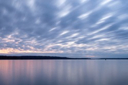 Sky of Blue and Pink Clouds Over Calm Lake