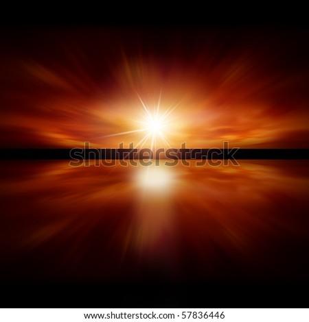 Sky of Red Light - fractal landscape