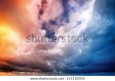 Sky on sunset. Colorful clouds. Nature composition.