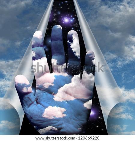 Sky peels apart revealing hand of clouds