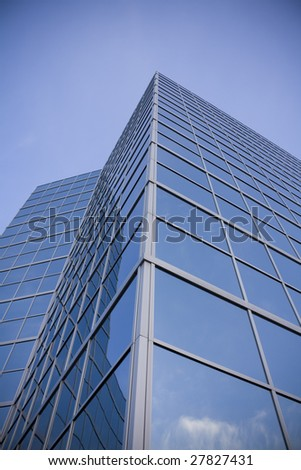 Sky reflected in building - stock photo