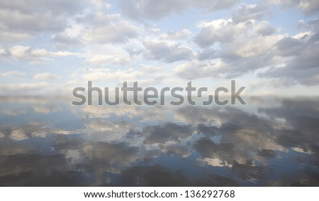 Sky reflection in water.