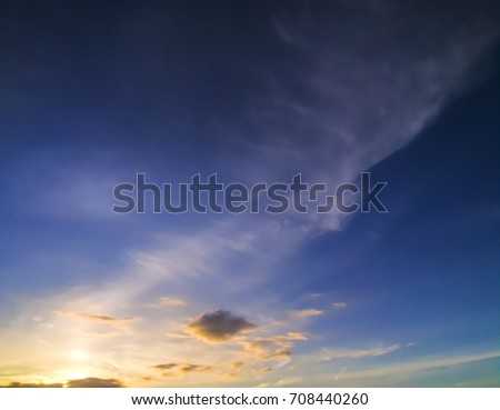 sky scape and cloud scape are plenty of copy space. gold light of sunshine is beginning day. #708440260