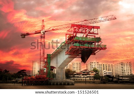 sky train under construction at twilight stock photo