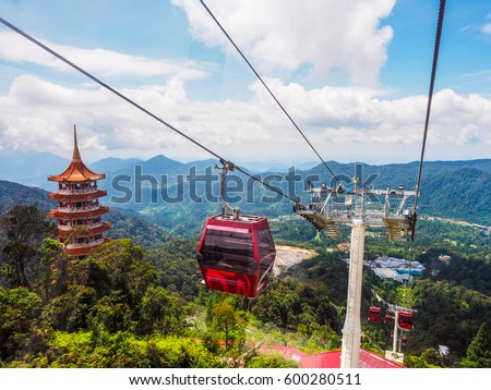 Shutterstock sky view and chin swee caves temple on skyway cable car, genting, malaysia