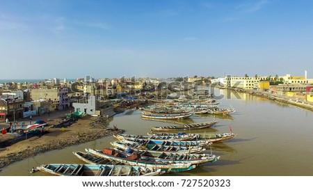 Sky View of Saint-Louis in Senegal #727520323
