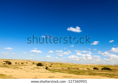 Sky with a small clouds over bright desert