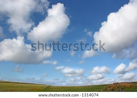 Sky with alto cumulus clouds above a hillside of grass, reeds, a fence and sheep grazing in Spring - stock photo