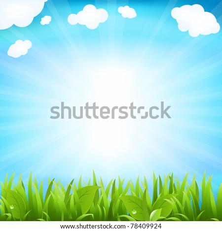 Sky With Beams And Sprout, Isolated On White Background