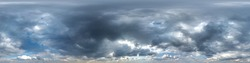 sky with beautiful evening cumulus clouds. Seamless hdri panorama 360 degrees angle view with zenith for use in graphics or game development as sky dome or edit drone shot