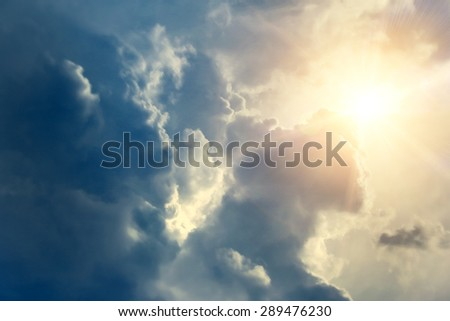 sky with clouds and sun #289476230