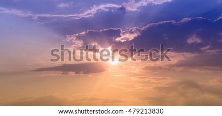 Sky with clouds background on sunset . Nature composition . #479213830