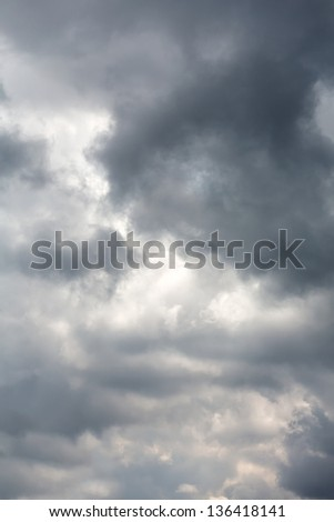 Sky with dark storm rain clouds