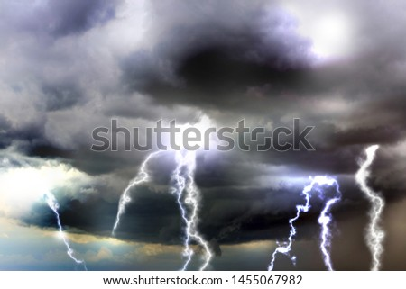 Sky with heavy rainy clouds and lightnings. Thunderstorm  #1455067982