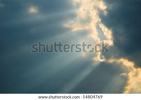 Sky with sun shine through the cloud and sun beam