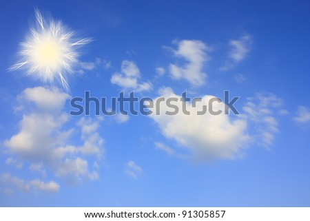 Sky with white clouds and sun