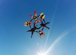 Skydive hybrid formation low angle view