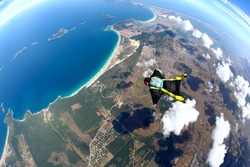Skydive Wing Suit over Brazilian beach