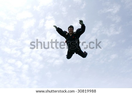 Skydiver falls towards cameraman