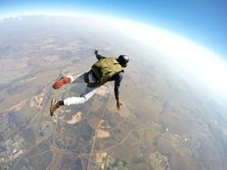 Skydiver flies through the air