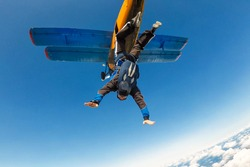 Skydiver jumps from the aircraft into the sky