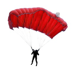 Skydiver on white background