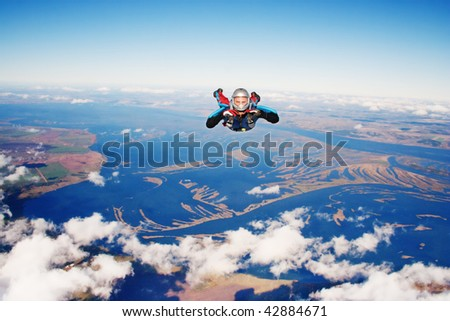 Skydiver. Parachuting is fun!
