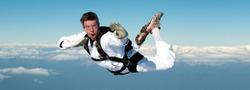 Skydiver performing karate kid position