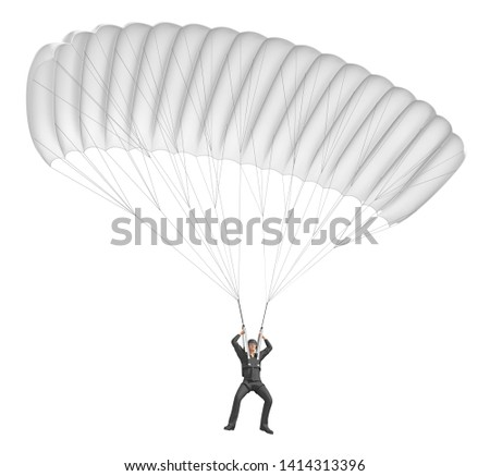 Paragliding with Para-motor Silhouette… Stock Photo