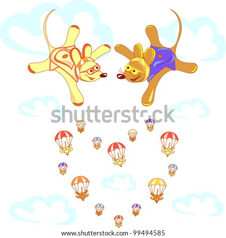 Skydivers animals in free fall between the clouds. Scrapbook