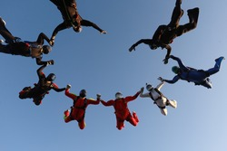Skydiving. Formation jump.A group of skydivers is in the sky.